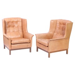 Pair of Midcentury Arne Norell Lounge Chairs with Ottoman, 1960s