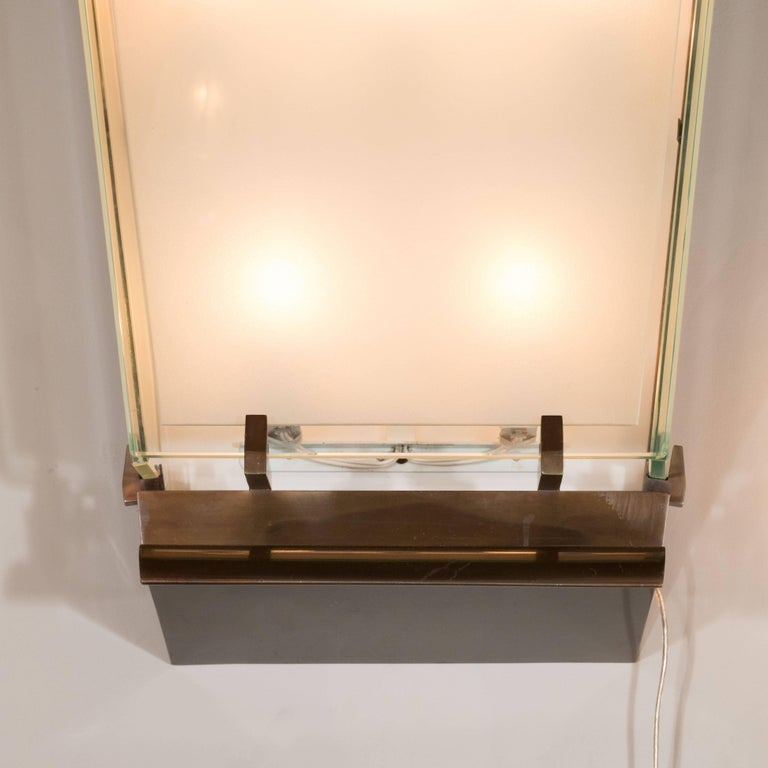 Mid-Century Modern Midcentury Art Moderne Patinated Bronze and Frosted Glass Lantern Sconces, Pair For Sale
