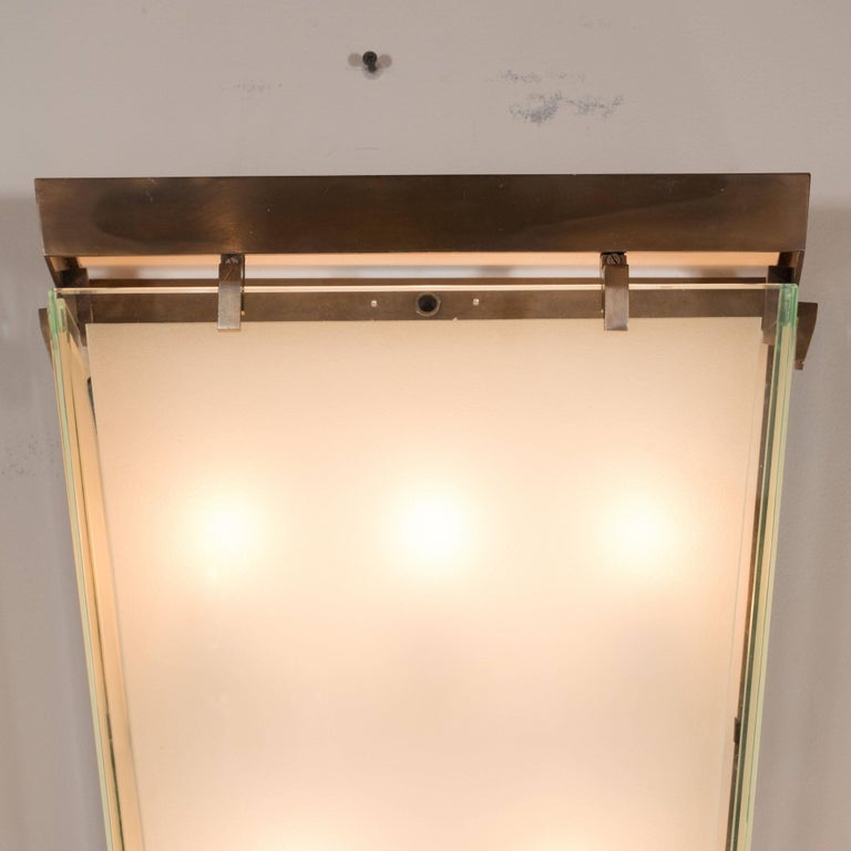 French Midcentury Art Moderne Patinated Bronze and Frosted Glass Lantern Sconces, Pair For Sale