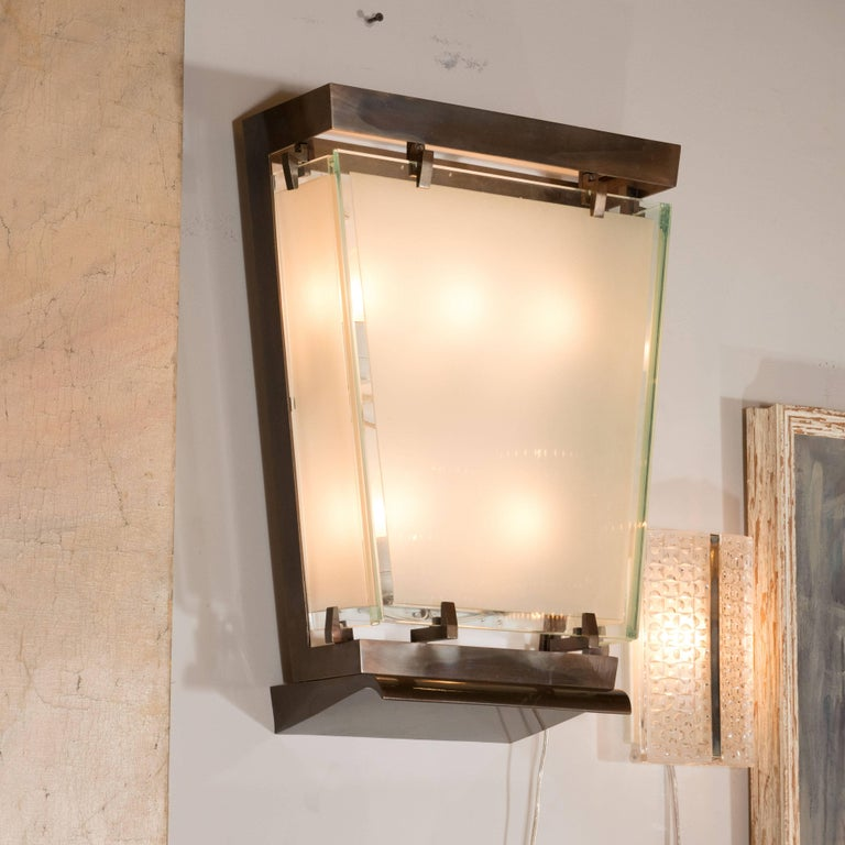 Midcentury Art Moderne Patinated Bronze and Frosted Glass Lantern Sconces, Pair In Excellent Condition For Sale In New York, NY