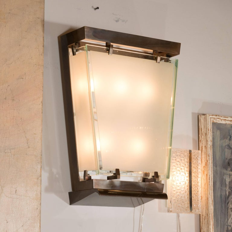 Mid-20th Century Midcentury Art Moderne Patinated Bronze and Frosted Glass Lantern Sconces, Pair For Sale