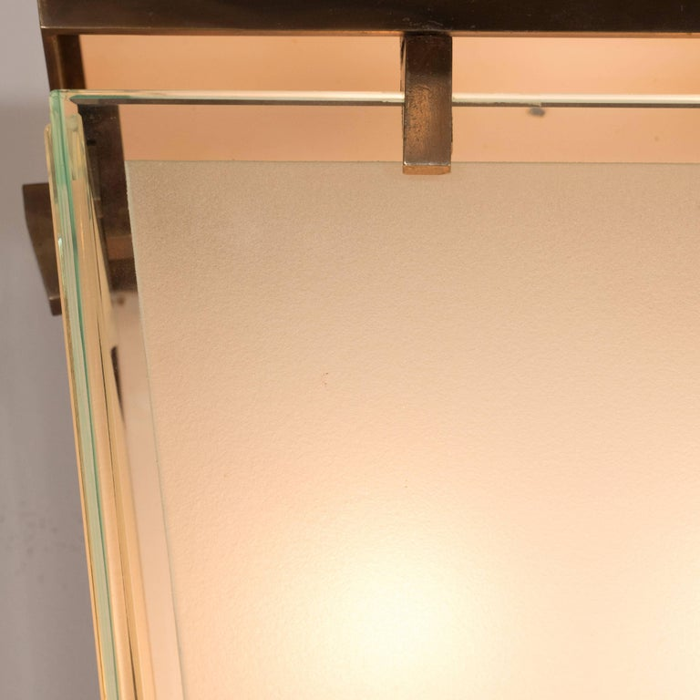 Midcentury Art Moderne Patinated Bronze and Frosted Glass Lantern Sconces, Pair For Sale 3