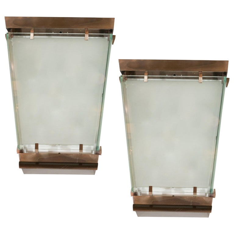 Midcentury Art Moderne Patinated Bronze and Frosted Glass Lantern Sconces, Pair For Sale