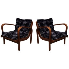 Pair of Midcentury Ashwood Italian Armchairs, 1950
