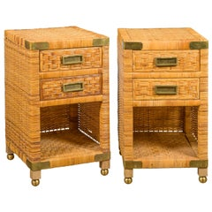 Pair of Midcentury Asian Rattan Bedside Tables with Drawers and Brass Accents
