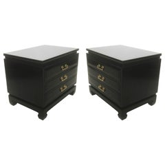 Pair of Midcentury Asian Style Lacquered Three-Drawer Chests