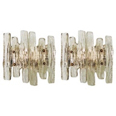 """Pair of Midcentury Austrian Ice-Glass """"Puck"""" Wall Sconces by Kalmar, 1970s"""