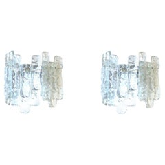 "Pair of Midcentury Austrian Ice-Glass ""Sierra"" Wall Sconces by Kalmar, 1970s"