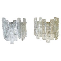 Pair of Midcentury Austrian Ice-Glass Wall Sconces by Kalmar, 1970s