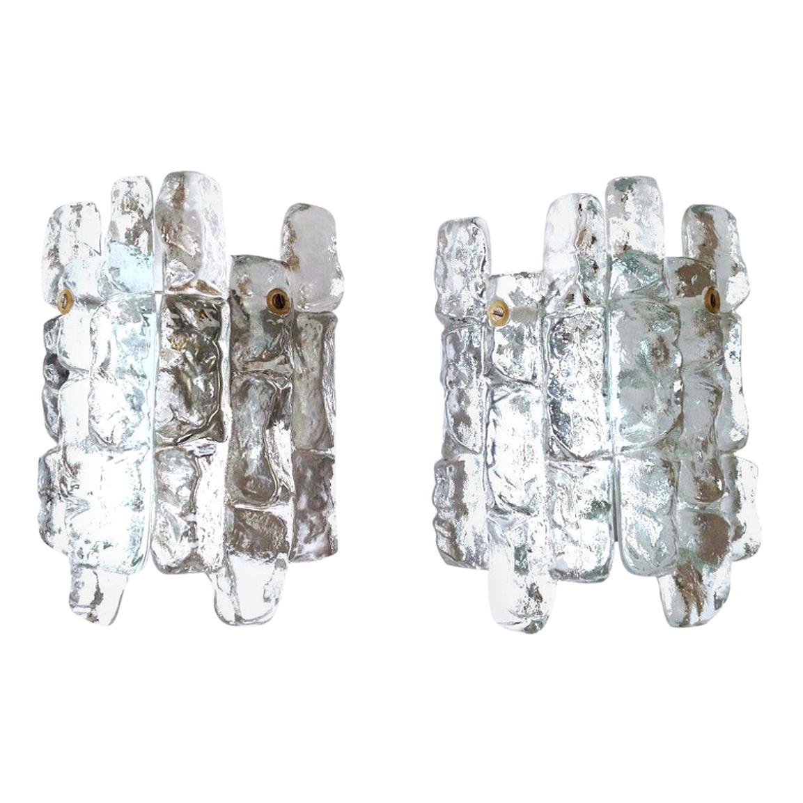 Pair of Midcentury Austrian Ice Glass Wall Sconces by Kalmar, 1970s