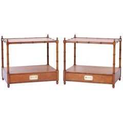 Pair of Midcentury Baker Faux Bamboo End Tables or Nightstands