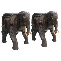 Pair of Midcentury Balinese Hand Carved Hardwood Elephant Chairs
