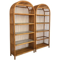 Pair of Midcentury Bamboo and Glass Étagères, in the Style of Maison Baguès