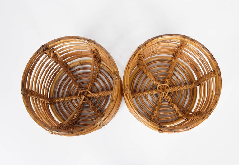 Pair of Midcentury Bamboo and Wicker Italian Pouf Stools, 1960s 5