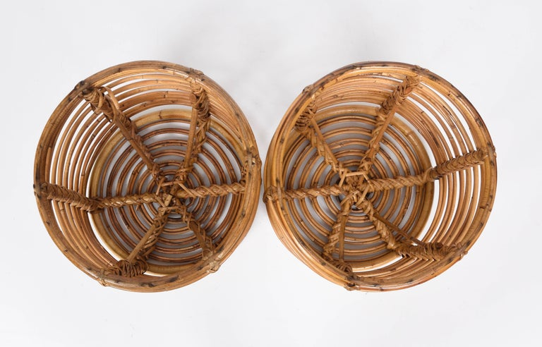 Pair of Midcentury Bamboo and Wicker Italian Pouf Stools, 1960s 6