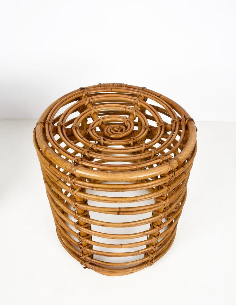 Pair of Midcentury Bamboo and Wicker Italian Pouf Stools, 1960s 7