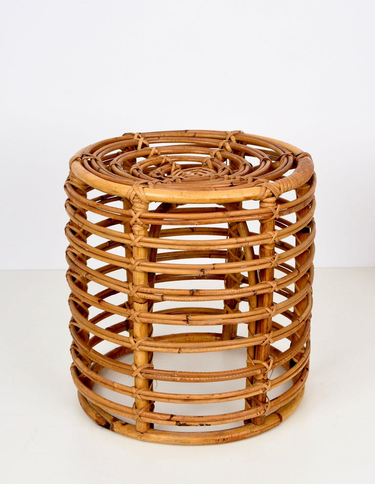 Pair of Midcentury Bamboo and Wicker Italian Pouf Stools, 1960s 9