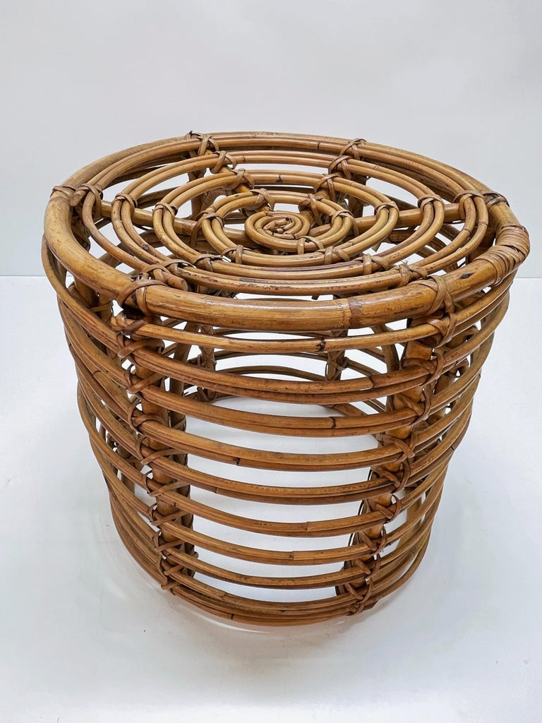 Pair of Midcentury Bamboo and Wicker Italian Pouf Stools, 1960s 10