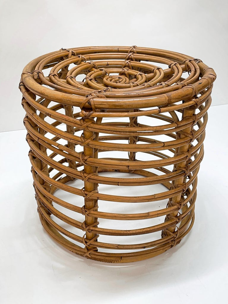 Pair of Midcentury Bamboo and Wicker Italian Pouf Stools, 1960s 11