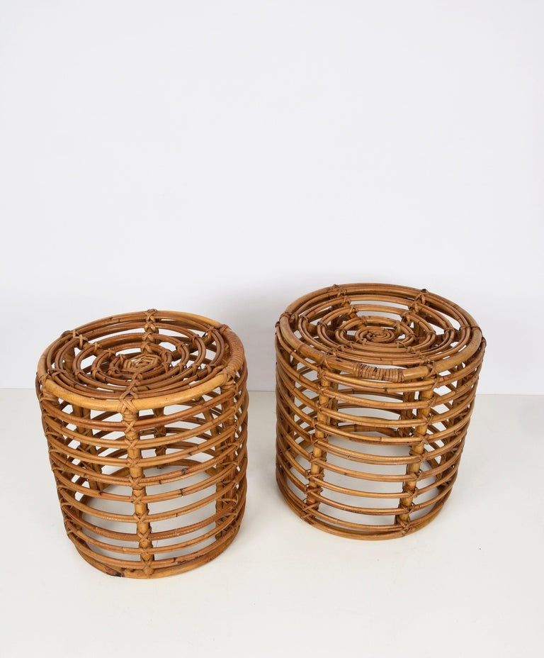 Mid-Century Modern Pair of Midcentury Bamboo and Wicker Italian Pouf Stools, 1960s