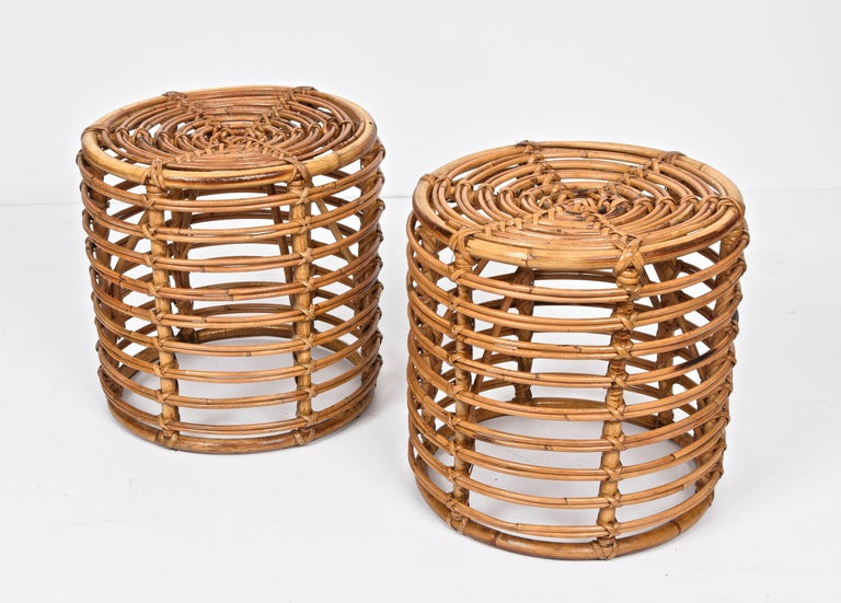 20th Century Pair of Midcentury Bamboo and Wicker Italian Pouf Stools, 1960s