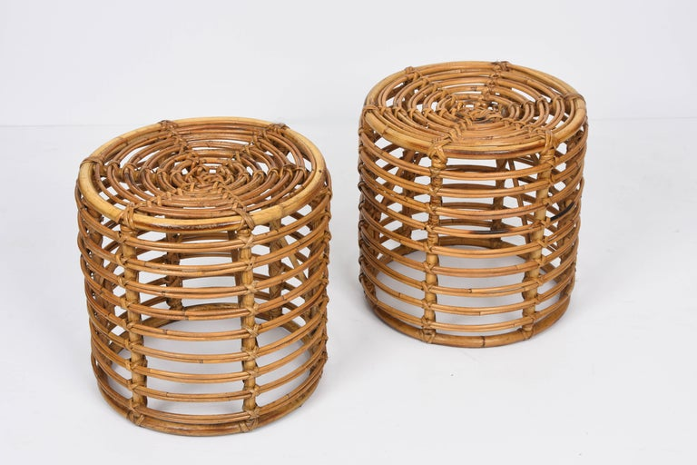 Pair of Midcentury Bamboo and Wicker Italian Pouf Stools, 1960s 1