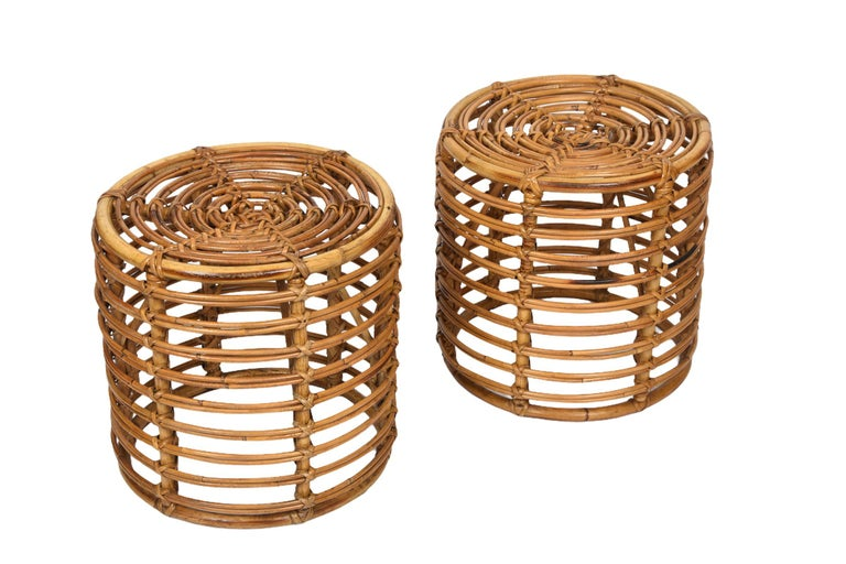 Pair of Midcentury Bamboo and Wicker Italian Pouf Stools, 1960s 2