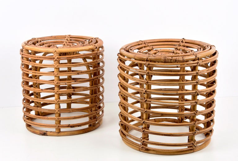 Pair of Midcentury Bamboo and Wicker Italian Pouf Stools, 1960s 3