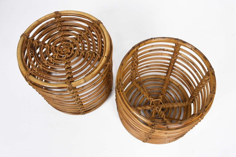 Pair of Midcentury Bamboo and Wicker Italian Pouf Stools, 1960s 4