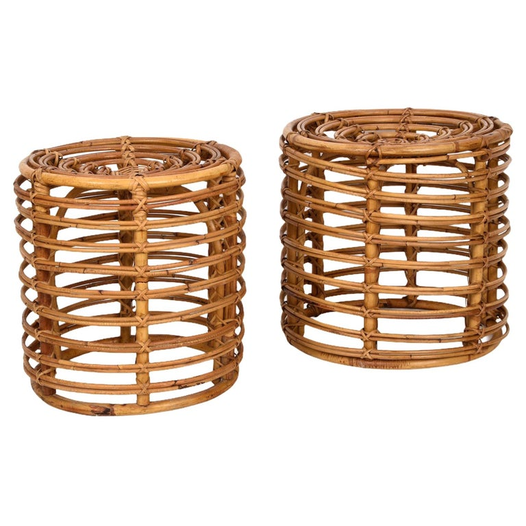 Pair of Midcentury Bamboo and Wicker Italian Pouf Stools, 1960s