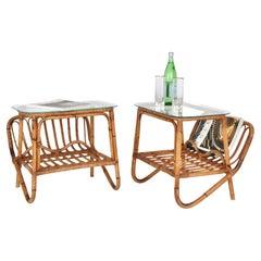 Pair of Midcentury Bamboo Italian Magazine Rack Tables with Glass Shelf, 1960s