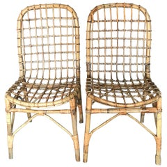 Pair of Midcentury Bamboo Side Chairs
