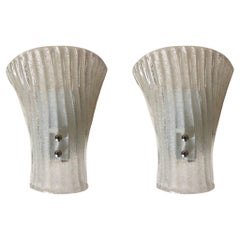Pair of Midcentury Barovier & Toso Murano Wall Sconces, 1970s