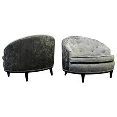 Pair of Midcentury Barrel Back Slipper Chairs