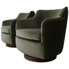 Pair of Midcentury Barrel Back Swivel Chairs by Dunbar