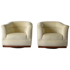 Pair of Midcentury Barrel Back Swivel Chairs
