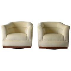 Pair of Midcentury Barrel Back Swivel Chairs