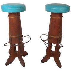 Pair of Midcentury Barrel Frame Bar Stools