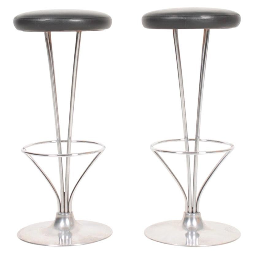 Pair of Midcentury Barstools in Patinated Leather by Piet Hein, 1970s