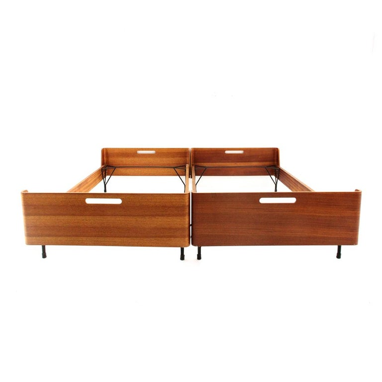 Metal Pair of Midcentury Bed by Gastone Rinaldi for RIMA, 1950s For Sale