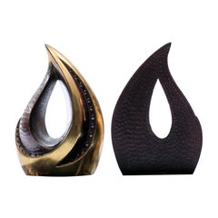 Pair of Midcentury Ben Seibel Sculptural Brass Bookends