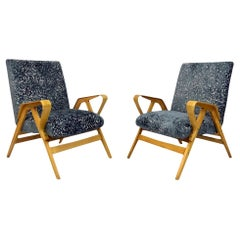 Pair of Midcentury Bentwood Armchairs by Tatra