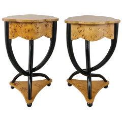 Pair of Midcentury Biedermeier Burl Wood Trefoil End Tables