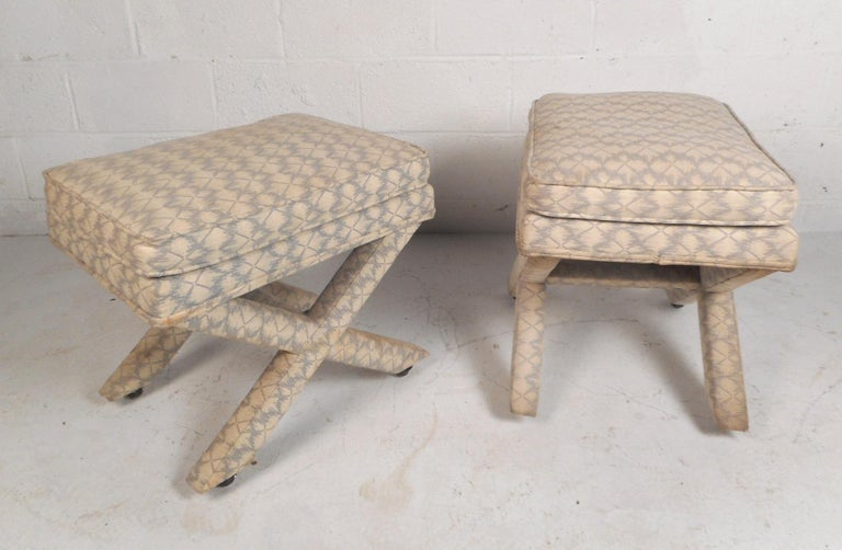 Upholstery Pair of Midcentury Billy Baldwin Style Ottomans For Sale