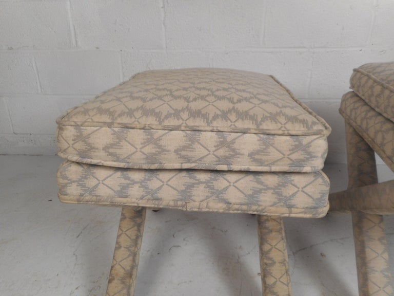 Pair of Midcentury Billy Baldwin Style Ottomans For Sale 1