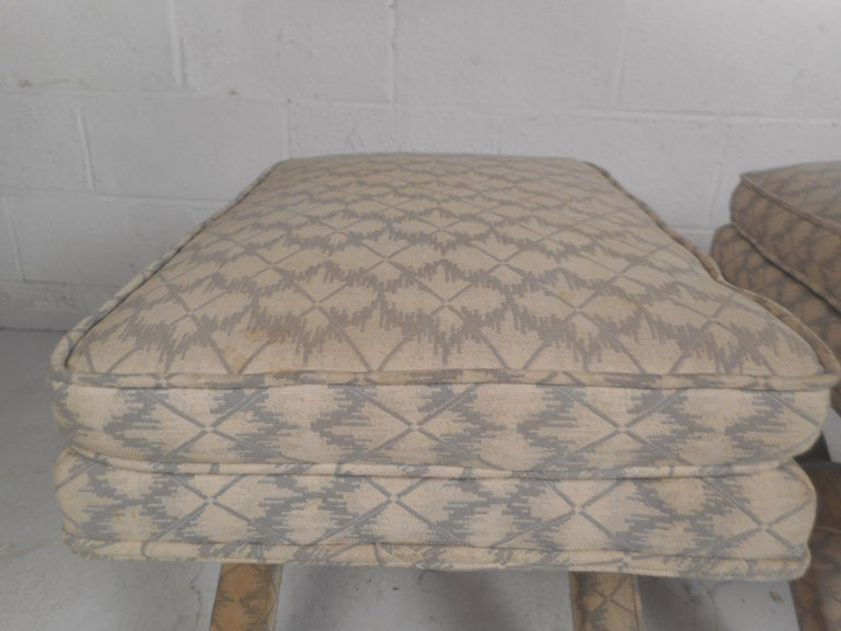 Pair of Midcentury Billy Baldwin Style Ottomans For Sale 2