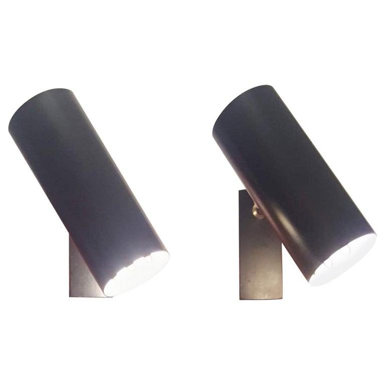 Pair of Midcentury Black Adjustable Stilnovo Lamps Marked Stilnovo, Italy, 1950 For Sale