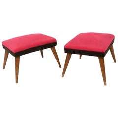 Pair of Midcentury Black and Red Fabric Poufs with Wooden Legs, Italy, 1950s