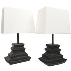 Pair of Midcentury Black Ceramic Lamps in the Style of James Mont