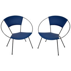 Pair of Midcentury Black Iron Hoop Chairs by Joseph Cicchelli for Reilly-Wolff